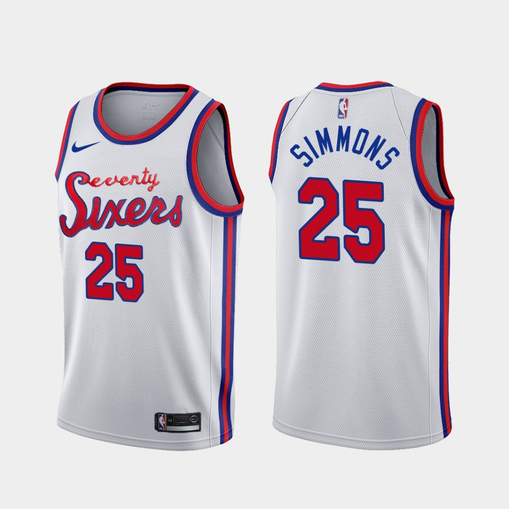 76ers 25 Ben Simmons White Nike Swingman Jersey