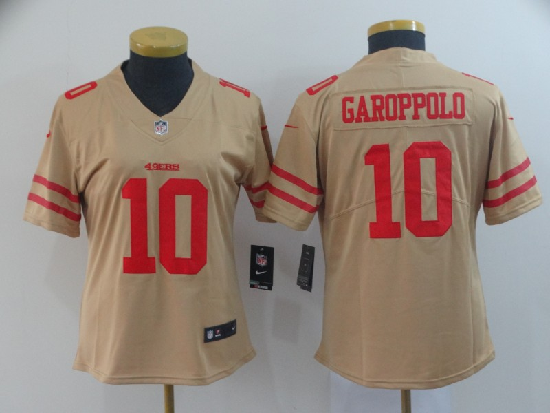 Nike 49ers 10 Jimmy Garoppolo Gold Women Inverted Legend Limited Jersey