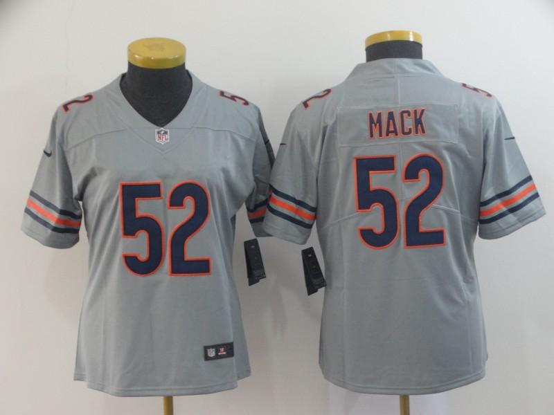 Nike Bears 52 Khalil Mack Gray Women Inverted Legend Limited Jersey