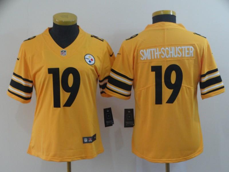 Nike Steelers 19 JuJu Smith Schuster Gold Women Inverted Legend Limited Jersey