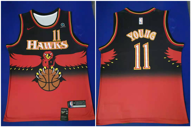 Hawks 11 Trae Young Red Nike Throwback Swingman Jersey