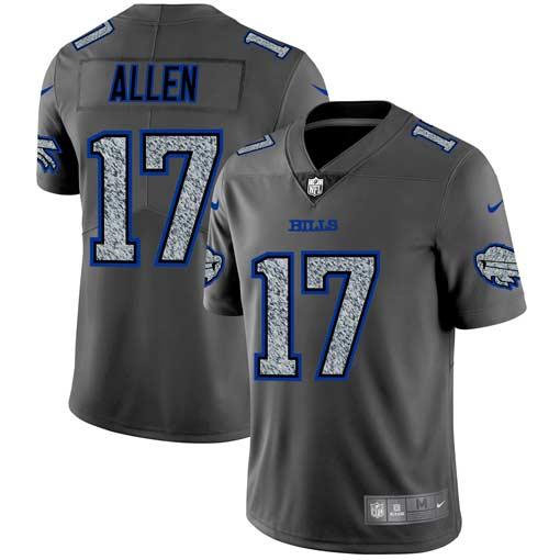 Nike Bills 17 Josh Allen Gray Camo Vapor Untouchable Limited Jersey