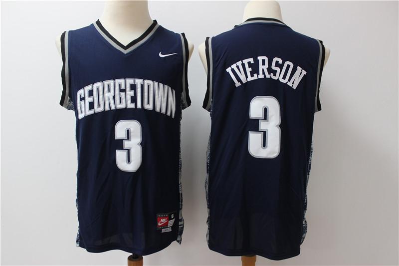 Georgetown University Hoyas 3 Allen Iverson Navy Nike College Basketball Jersey