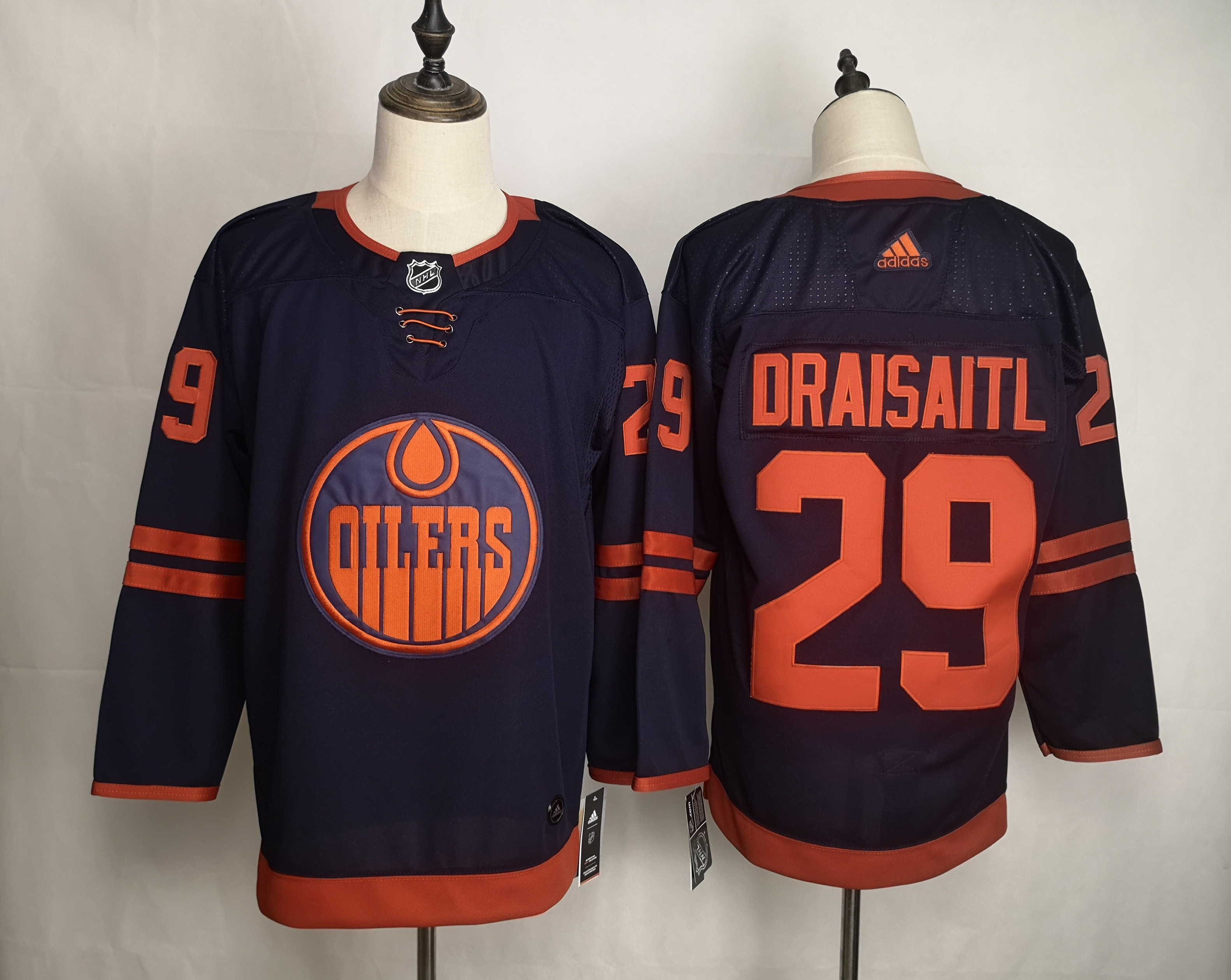 Oilers 29 Leon Draisaitl Navy 50th anniversary Adidas Jersey