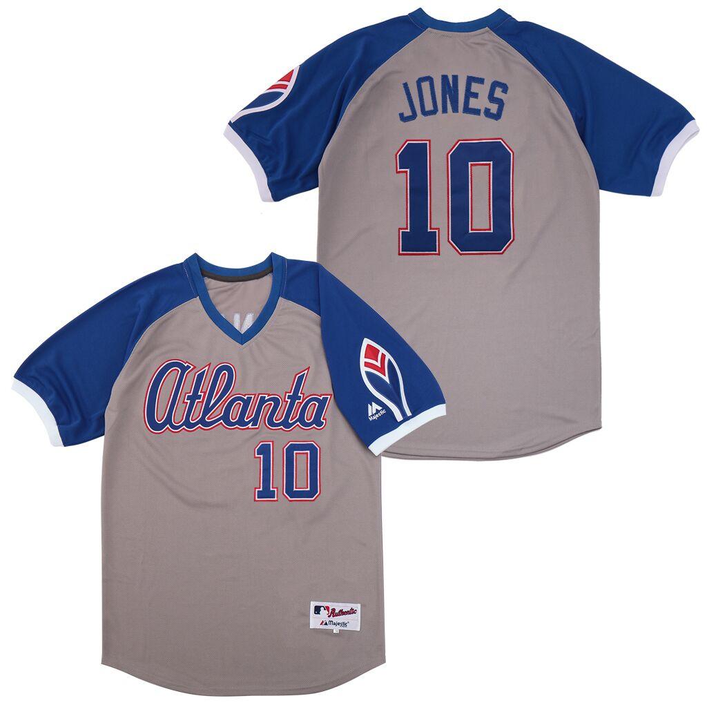 Braves 10 Chipper Jones Gray Turn Back The Clock Jersey