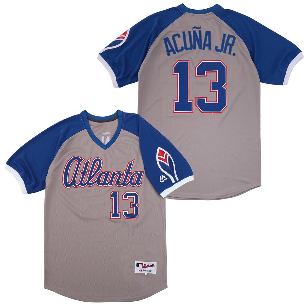 Braves 13 Ronald Acuna Jr. Gray Turn Back The Clock Jersey