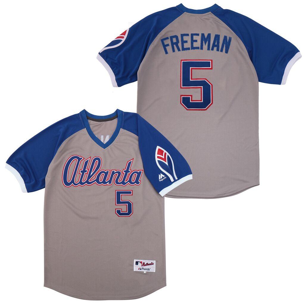 Braves 5 Freddie Freeman Gray Turn Back The Clock Jersey