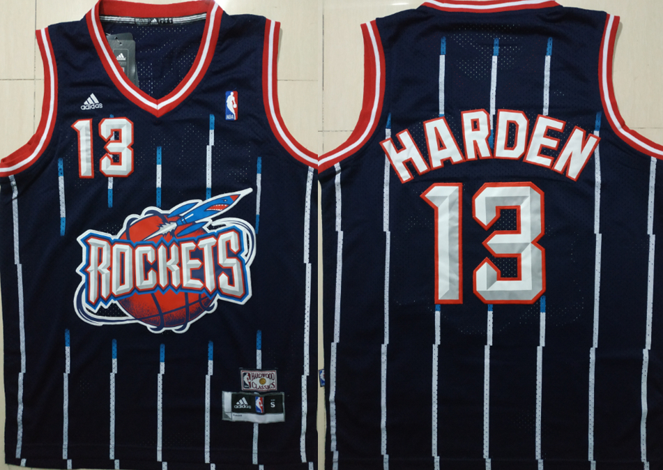 Rockets 13 James Harden Blue Hardwood Classics Jersey