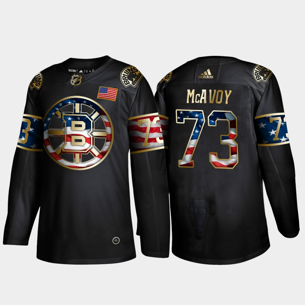 Bruins 73 Charlie McAvoy Black Gold USA Flag Adidas Jersey