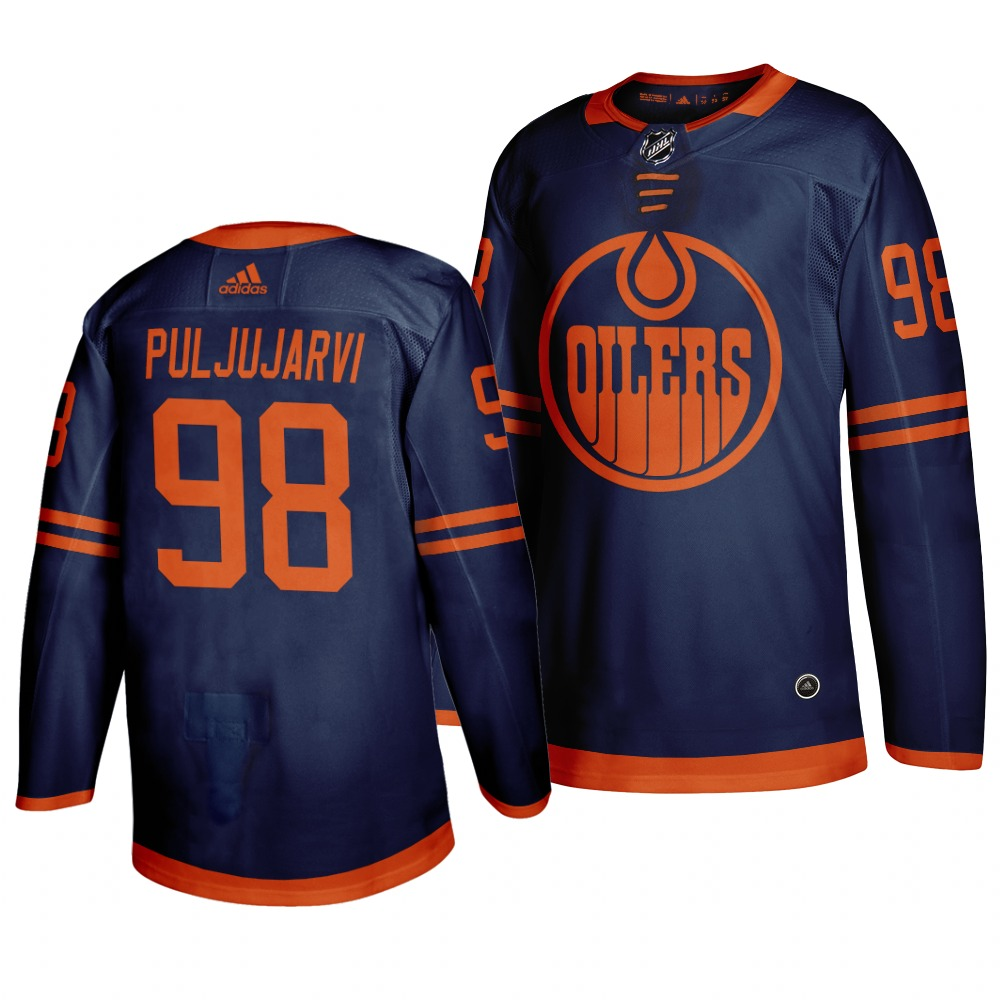 Oilers 98 Jesse Puljujarvi Navy 50th anniversary Adidas Jersey