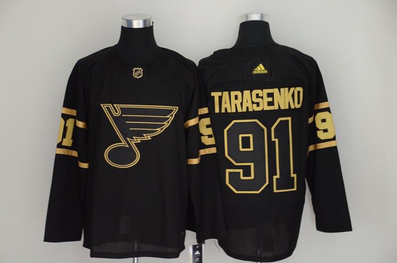 Blues 91 Vladimir Tarasenko Black Gold Adidas Jersey