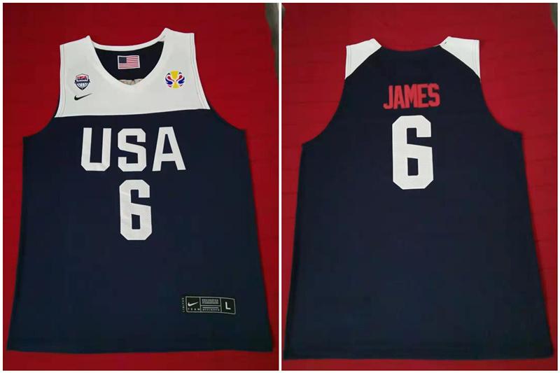 Team USA 6 James Navy 2016 Olympics Basketball Swingman Jersey