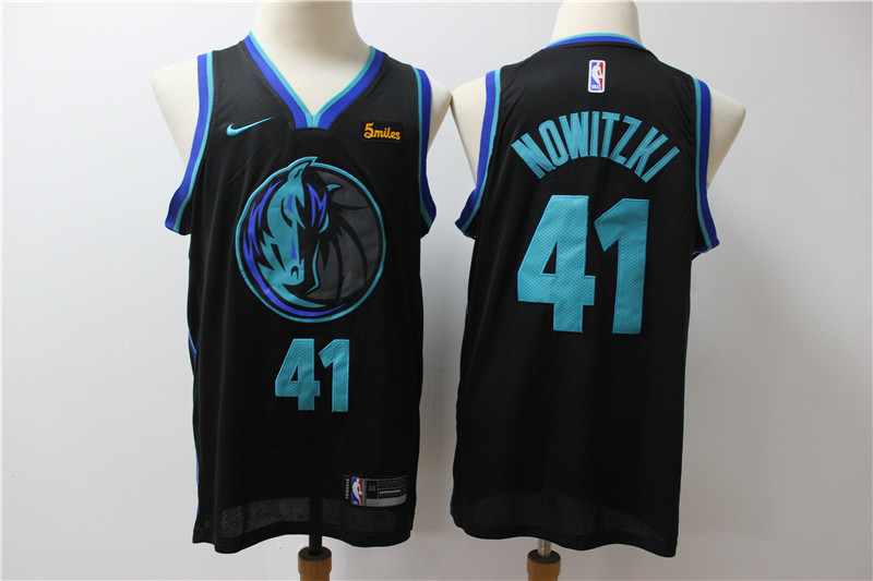 Mavericks 41 Dirk Nowitzki Black City Edition Nike Swingman Jersey
