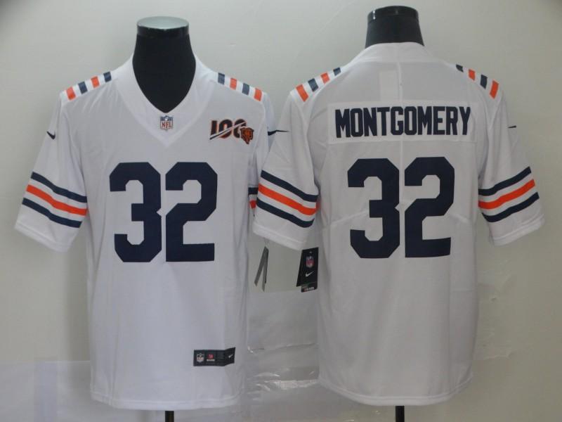 Nike Bears 32 David Montgomery White 2019 100th Season Alternate Classic Vapor Untouchable Limited Jersey