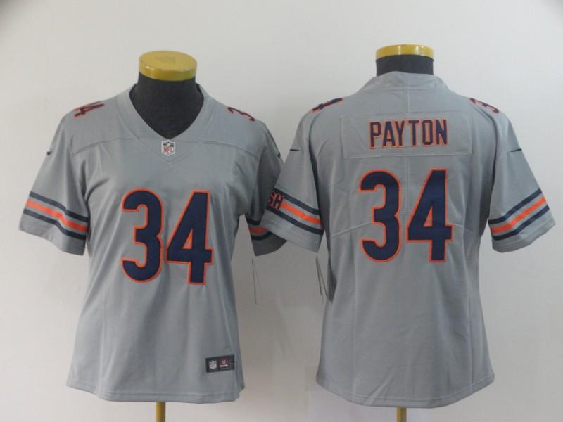 Nike Bears 34 Walter Payton Gray Women Inverted Legend Limited Jersey