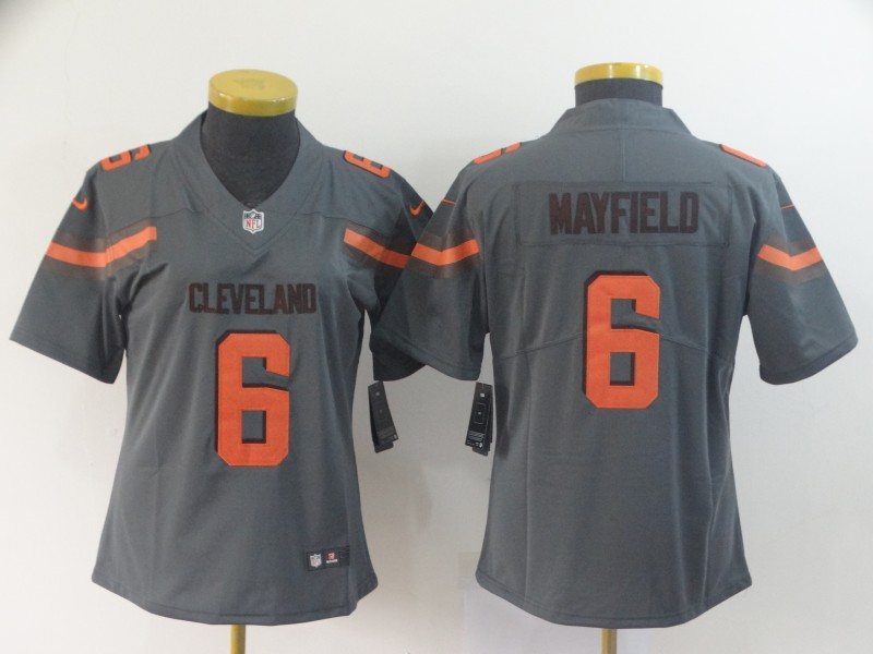Nike Browns 6 Baker Mayfield Gray Women Inverted Legend Limited Jersey