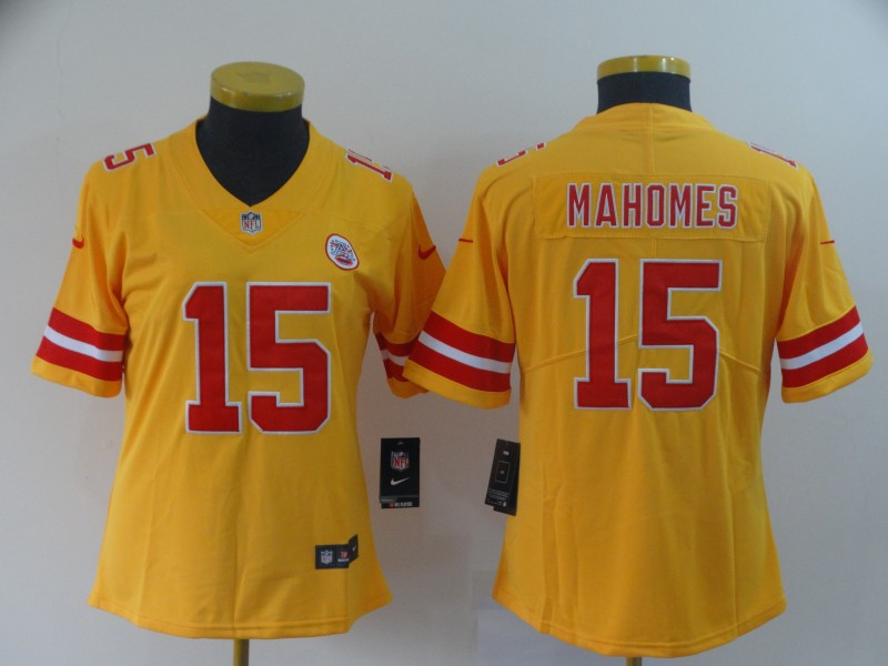 Nike Chiefs 15 Patrick Mahomes Gold Women Inverted Legend Limited Jersey