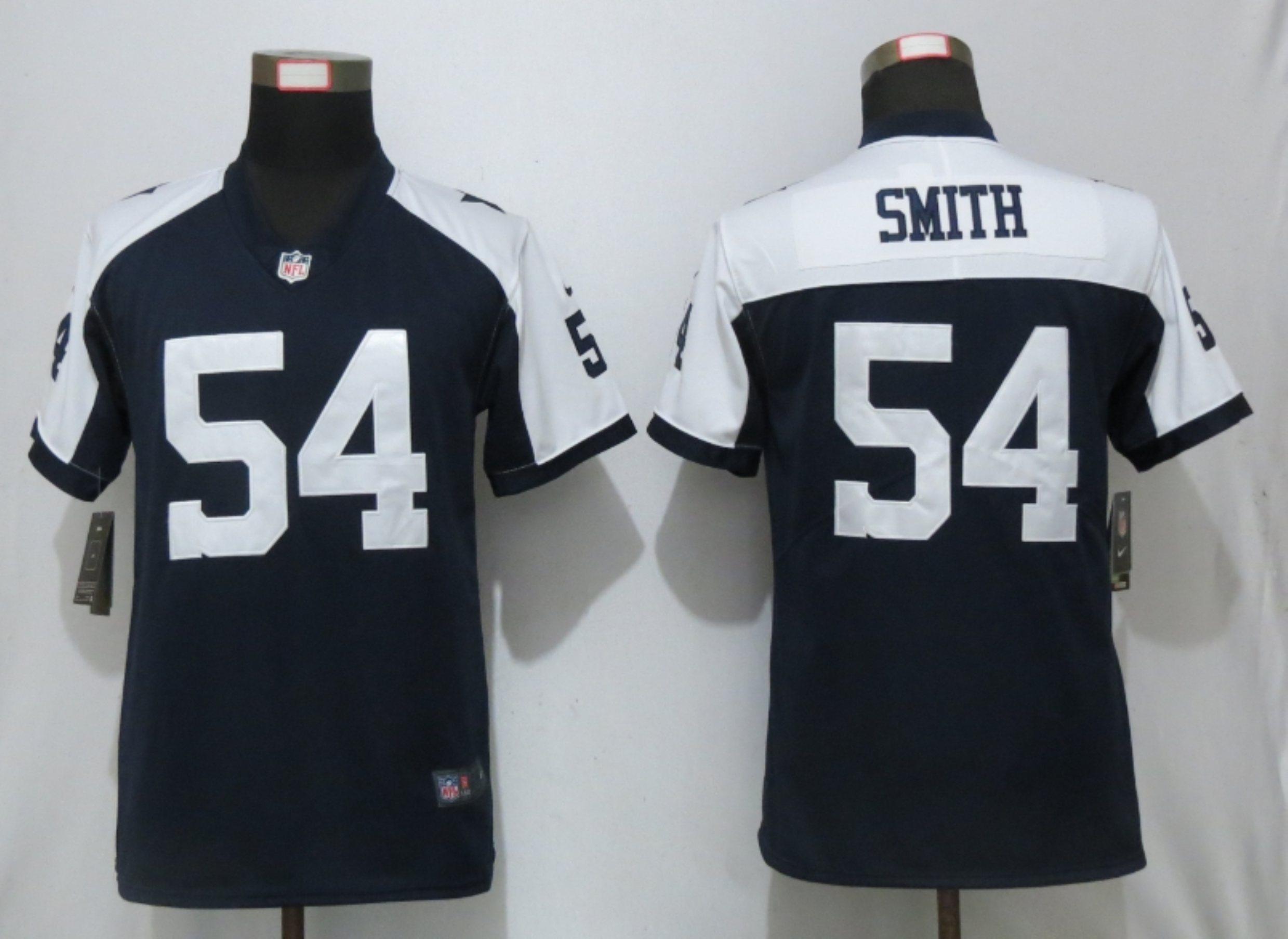 Nike Cowboys 54 Jaylon Smith Navy Throwback Women Vapor Untouchable Limited Jersey