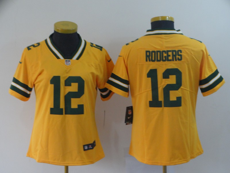 Nike Packers 12 Aaron Rodgers Gold Women Inverted Legend Limited Jersey