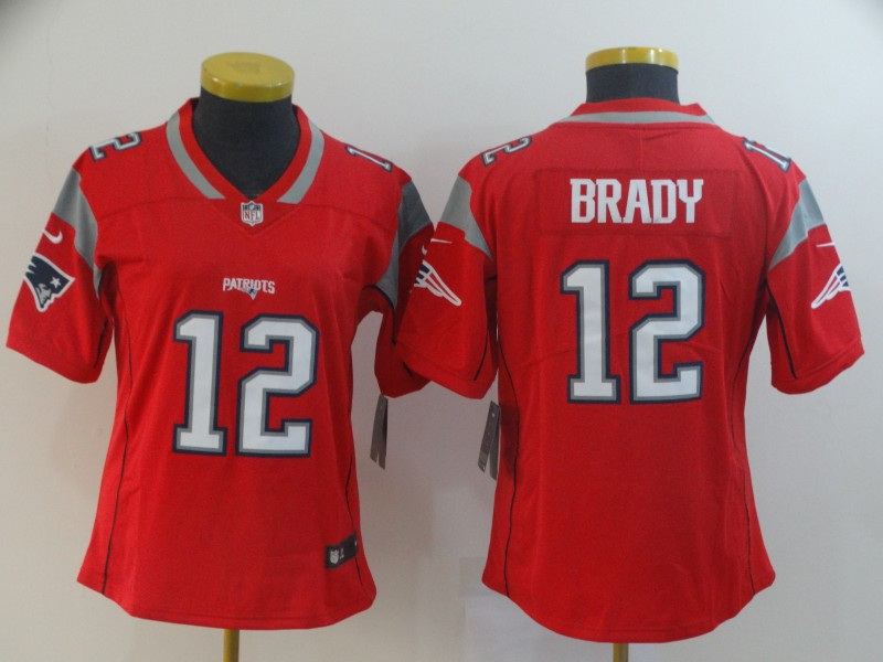 Nike Patriots 12 Tom Brady Red Women Inverted Legend Limited Jersey