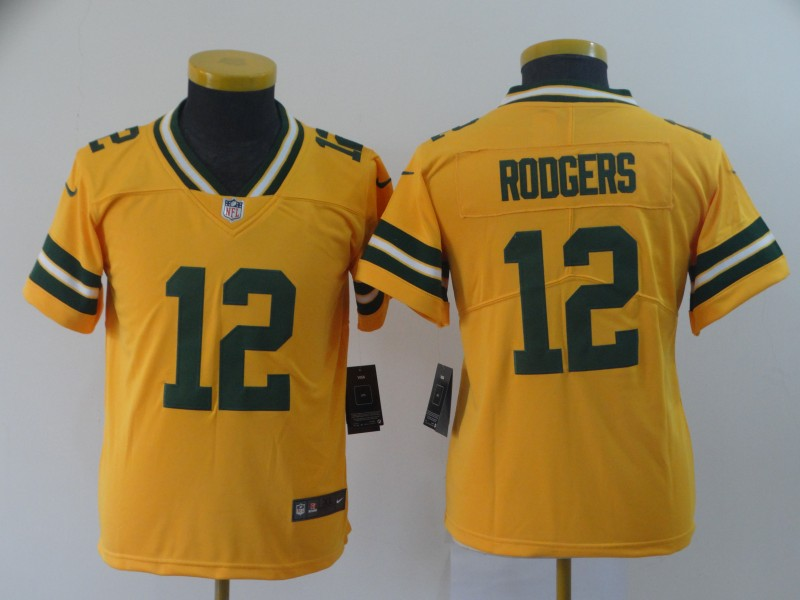 Nike Packers 12 Aaron Rodgers Gold Youth Inverted Legend Limited Jersey