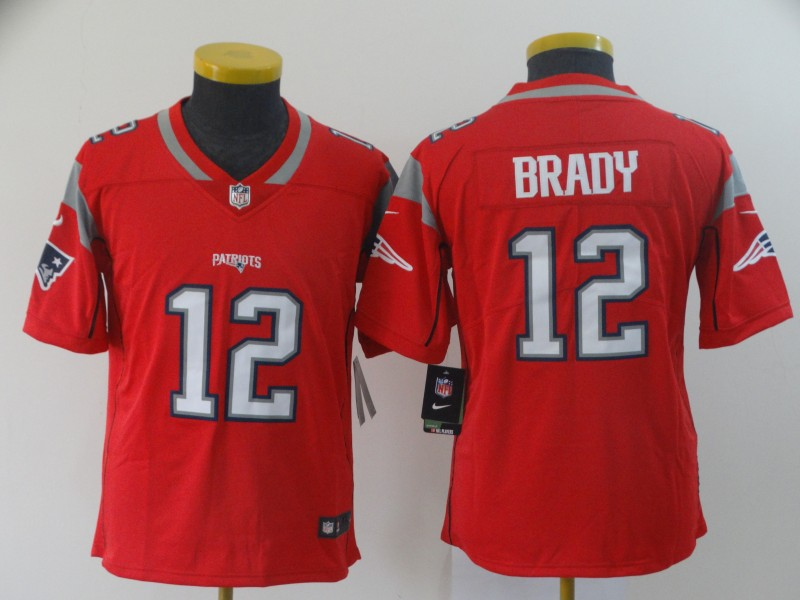 Nike Patriots 12 Tom Brady Red Youth Inverted Legend Limited Jersey