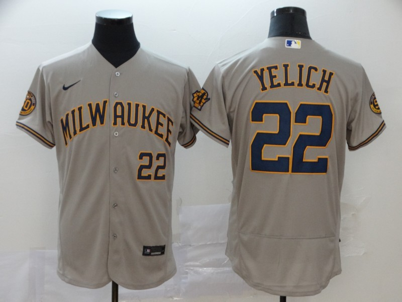 Brewers 22 Christian Yelich Gray Nike 2020 Flexbase Jersey