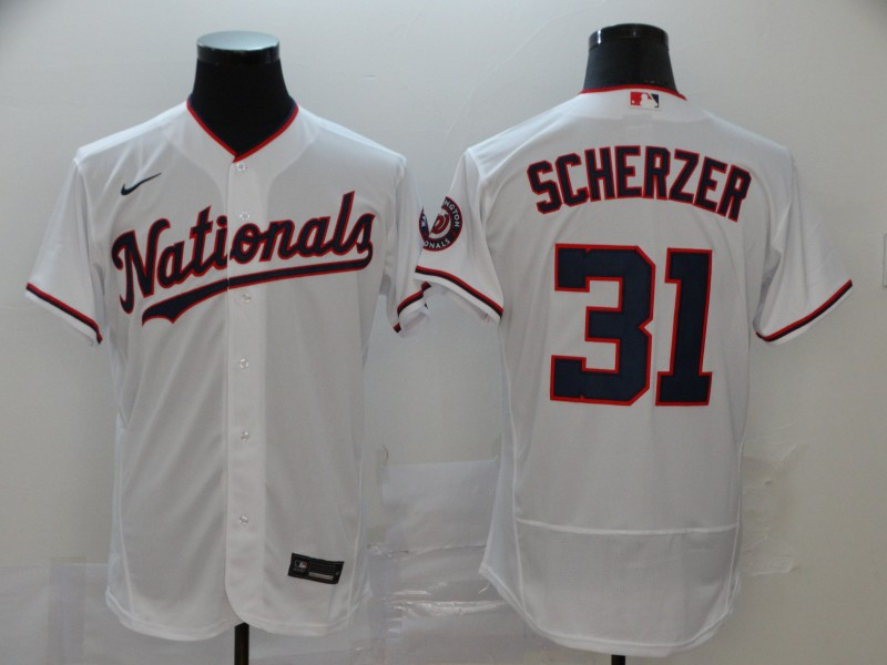 Nationals 31 Max Scherzer White Nike 2020 Flexbase Jersey