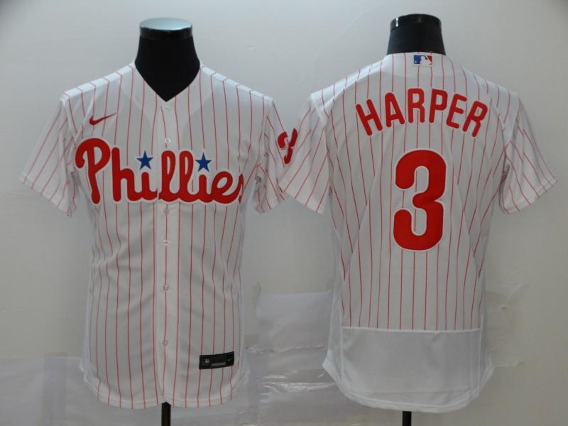 Phillies 3 Bryce Harper White Nike 2020 Flexbase Jersey