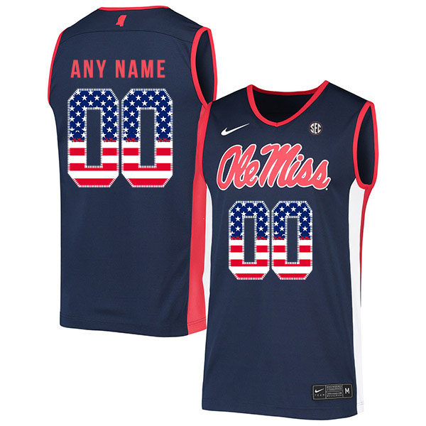Ole Miss Rebels Customized Navy USA Flag Nike Basketball College Jersey