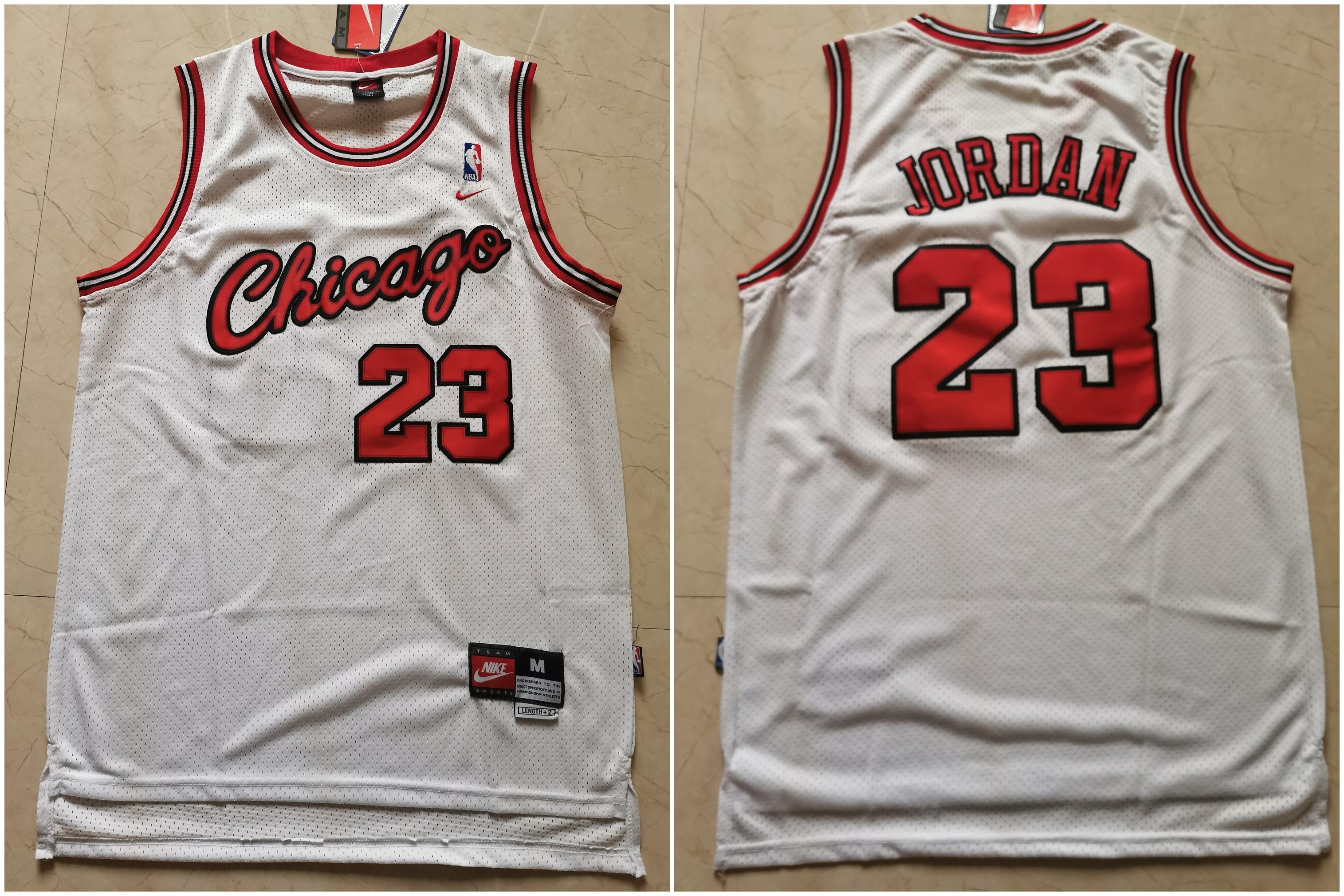 Bulls 23 Michael Jordan White Nike Mesh Swingman Jersey