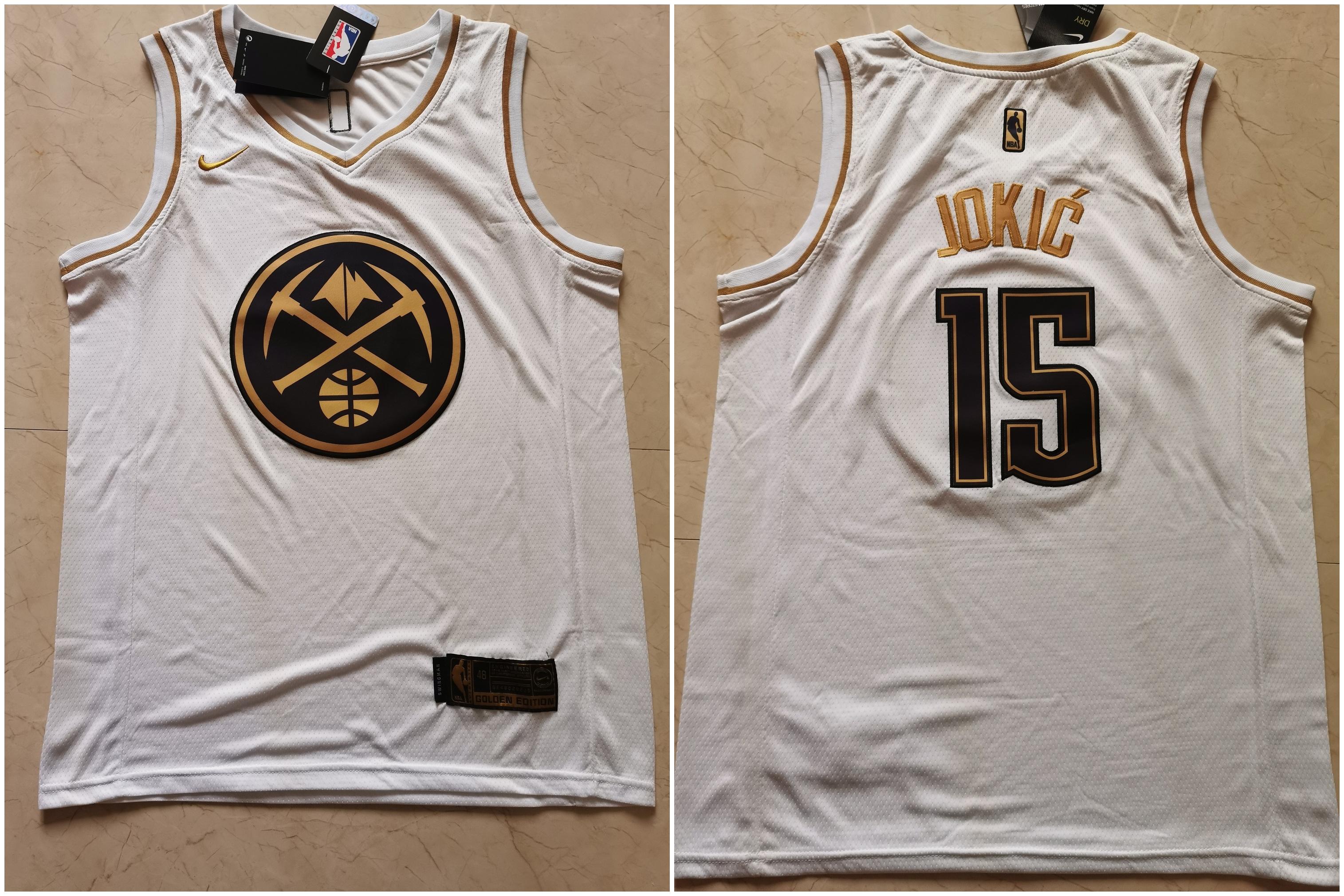 Nuggets 15 Nikola Jokic White Gold Nike Swingman Jersey