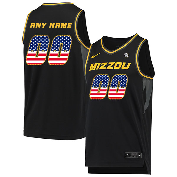 Missouri Tigers Customized Black USA Flag College Basketball Jersey