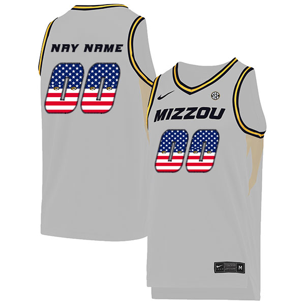 Missouri Tigers Customized White USA Flag College Basketball Jersey