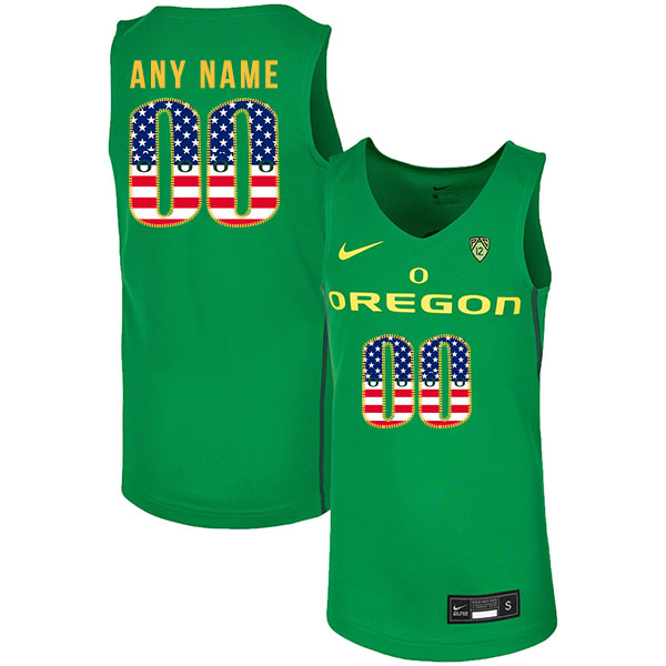 Oregon Ducks Customized Green USA Flag Nike College Basketball Jersey