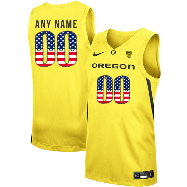 Oregon Ducks Customized Yellow USA Flag Nike College Basketball Jersey
