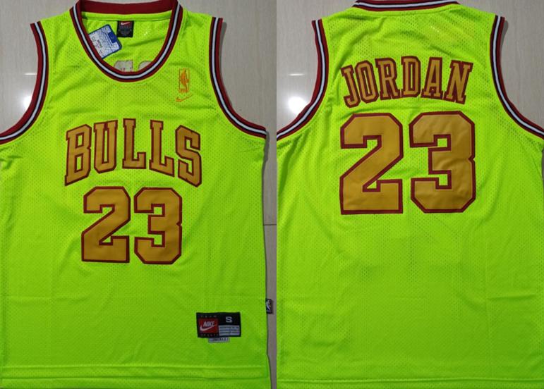 Bulls 23 Michael Jordan Fluorescent Green Nike Mesh Swingman Jersey