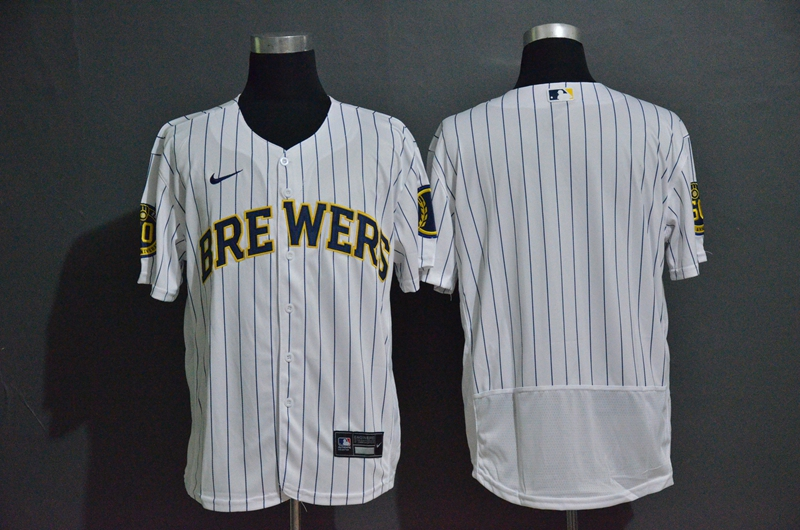 Brewers Blank White Nike 2020 Flexbase Jersey