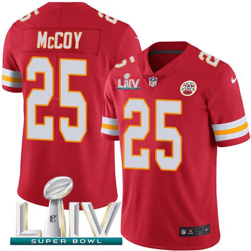 Nike Chiefs 25 LeSean McCoy Red 2020 Super Bowl LIV Vapor Untouchable Limited Jersey