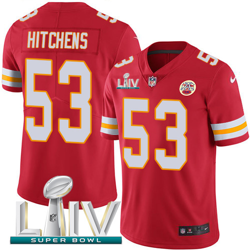 Nike Chiefs 53 Anthony Hitchens Red 2020 Super Bowl LIV Vapor Untouchable Limited Jersey