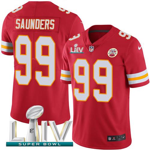 Nike Chiefs 99 Khalen Saunders Red 2020 Super Bowl LIV Vapor Untouchable Limited Jersey