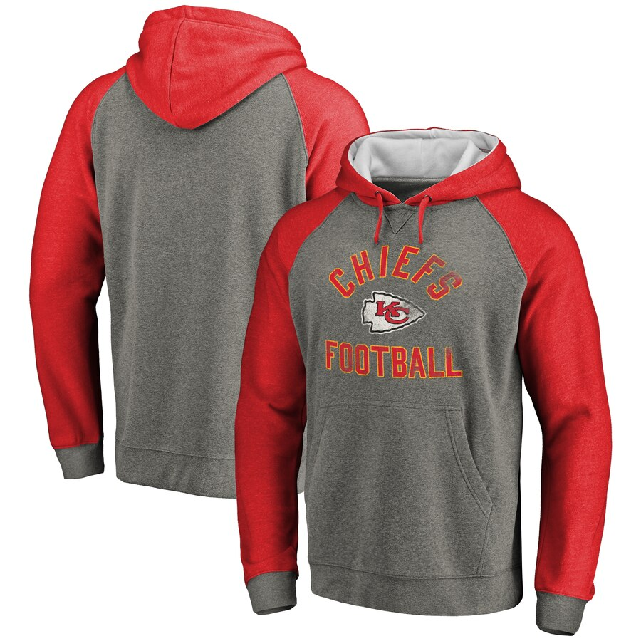 Kansas City Chiefs NFL Pro Line Comfort Tri Blend Pullover Hoodie Gray&Red