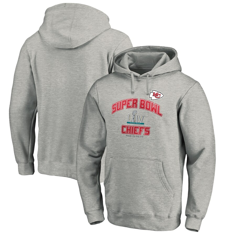 Kansas City Chiefs NFL Pro Line by Fanatics Branded Super Bowl LIV Bound Heart & Soul Pullover Hoodie Heather Gray