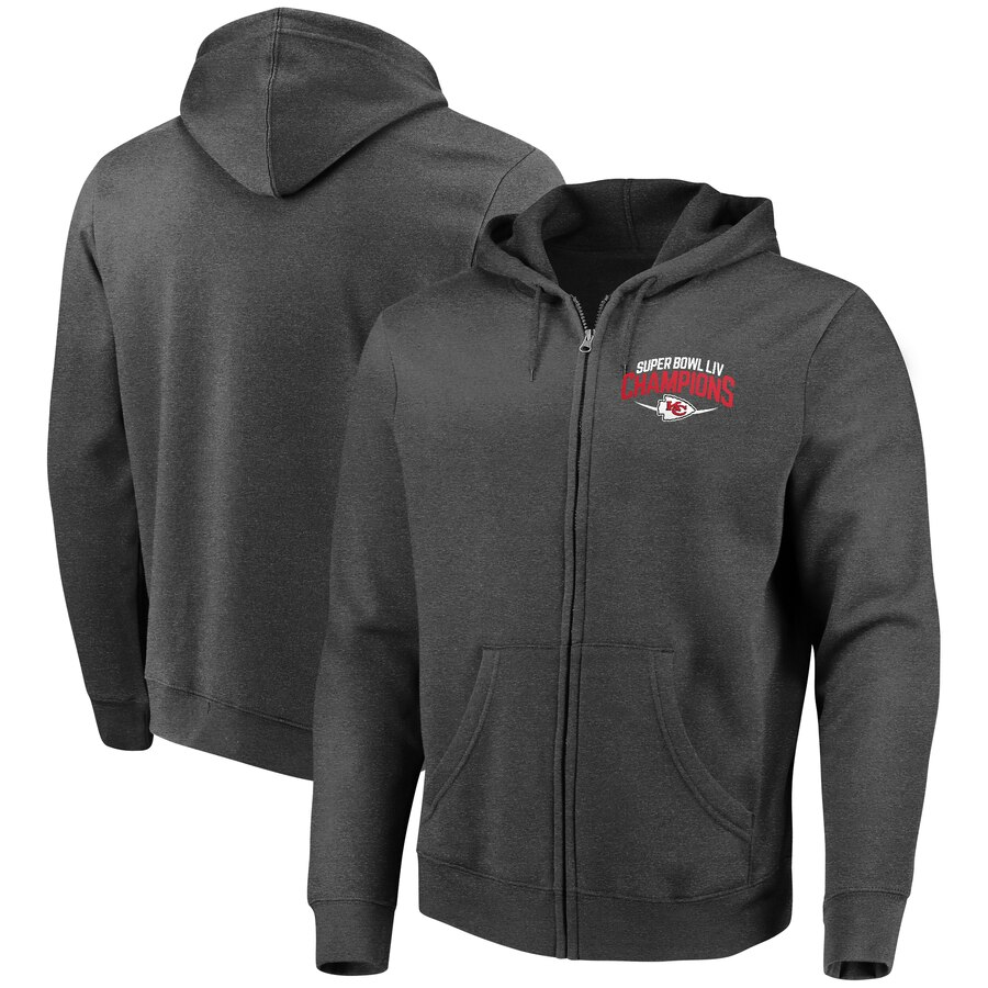 Kansas City Chiefs NFL Pro Line by Fanatics Branded Super Bowl LIV Champions Replay Full Zip Hoodie Heather Charcoal