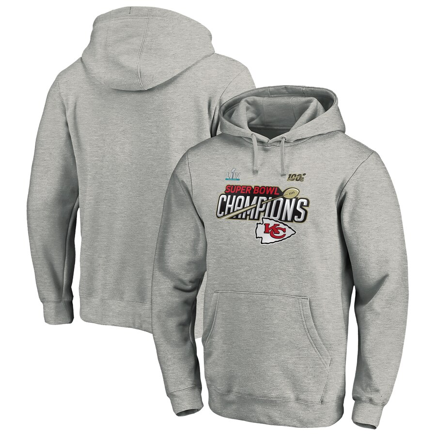 Kansas City Chiefs NFL Pro Line by Fanatics Branded Super Bowl LIV Champions Trophy Collection Locker Room Pullover Hoodie Heather Gray