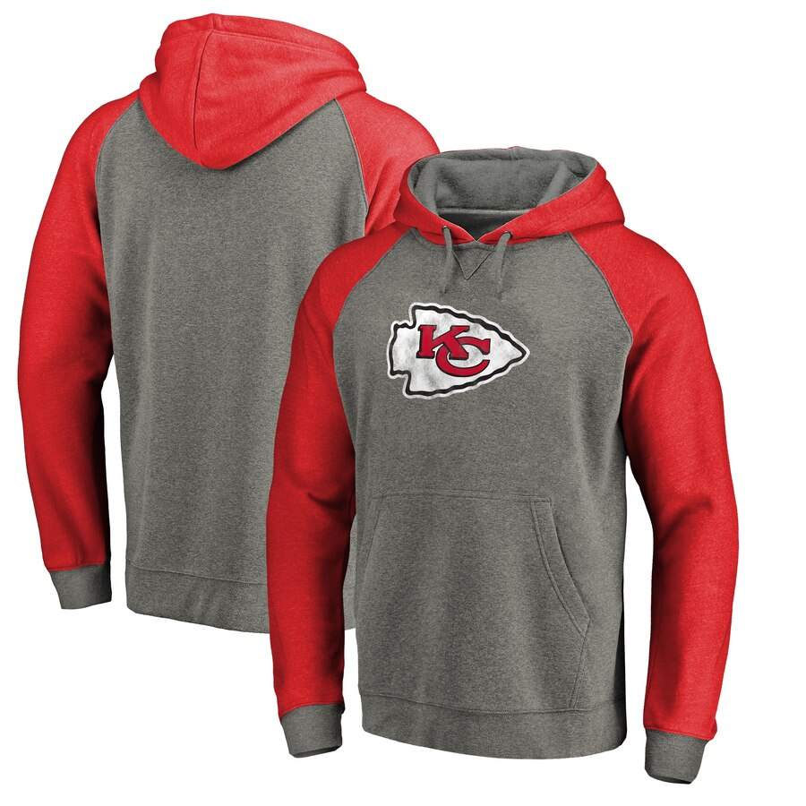 Kansas City Chiefs NFL Pro Line by Fanatics Branded Throwback Logo Big & Tall Tri Blend Raglan Pullover Hoodie Gray&Red