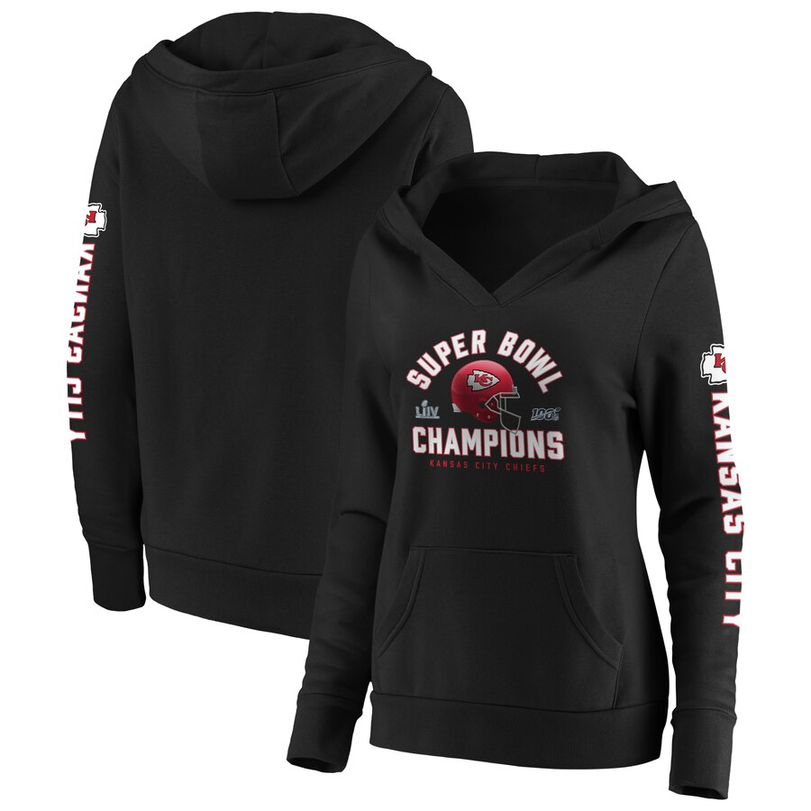 Kansas City Chiefs NFL Pro Line by Fanatics Branded Women's Super Bowl LIV Champions Lateral Pullover Hoodie Black.jpeg