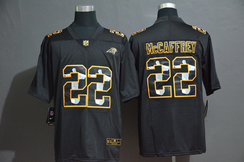 Nike Panthers 22 Christian McCaffrey Black Jesus Faith Edition Limited Jersey