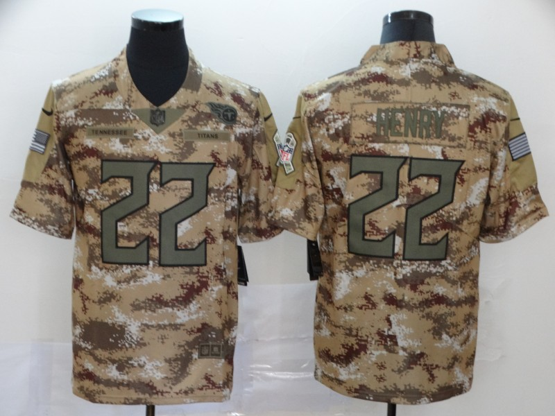 Nike Titans 22 Derrick Henry Camo Salute To Service Limited Jersey