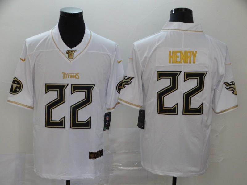 Nike Titans 22 Derrick Henry White Gold Vapor Untouchable Limited Jersey